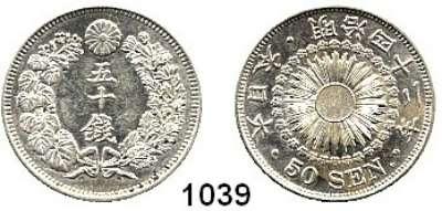 AUSLÄNDISCHE MÜNZEN,Japan Mutsuhito (Meiji) 1867 - 1912 50 Sen year 42 (1909).  Schön 9.  Y. 31.