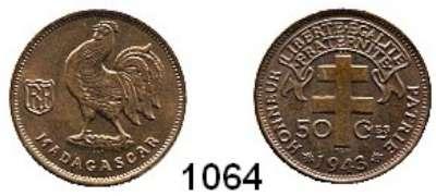 AUSLÄNDISCHE MÜNZEN,Madagaskar  50 Centimes 1943.  Schön 1.  KM 1.