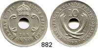 AUSLÄNDISCHE MÜNZEN,Britisch Ostafrika & Uganda  10 Cents 1907.  Schön 6.  KM 2.