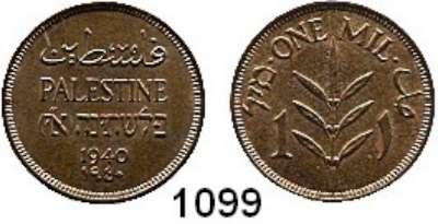 AUSLÄNDISCHE MÜNZEN,Palästina  1 Mil 1940.  Schön 1.  KM 1.