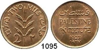 AUSLÄNDISCHE MÜNZEN,Palästina  2 Mils 1927.  Schön 2.  KM 2.