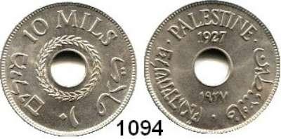 AUSLÄNDISCHE MÜNZEN,Palästina  10 Mils 1927.  Schön 4.  KM 4.