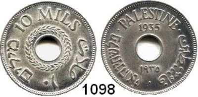 AUSLÄNDISCHE MÜNZEN,Palästina  10 Mils 1935.  Schön 4.  KM 4.