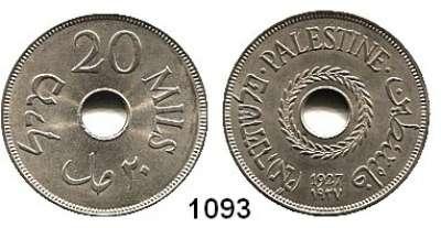 AUSLÄNDISCHE MÜNZEN,Palästina  20 Mils 1927.  Schön 5.  KM 5.