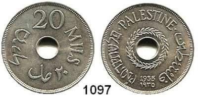 AUSLÄNDISCHE MÜNZEN,Palästina  20 Mils 1935.  Schön 5.  KM 5.