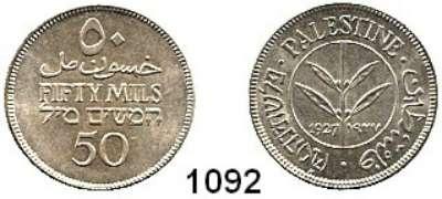 AUSLÄNDISCHE MÜNZEN,Palästina  50 Mils 1927.  Schön 6.  KM 6.