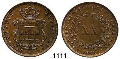 AUSLÄNDISCHE MÜNZEN,Portugal Ludwig I. 1861 - 1889 20 Reis 1873.  Kahnt/Schön 95,  KM 515.