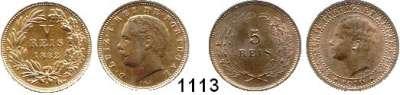 AUSLÄNDISCHE MÜNZEN,Portugal L O T S     L O T S     L O T S 5 Reis 1882(prfr) und 1910(vz-prfr).  LOT 2 Stück.