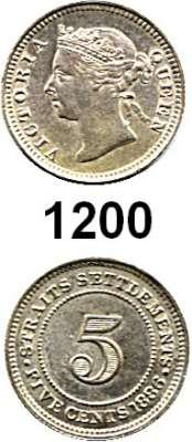 AUSLÄNDISCHE MÜNZEN,Straits Settlements Viktoria 1837 - 1901 5 Cents 1886.  Kahnt/Schön 13.  KM 10.