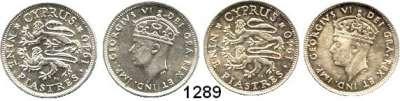 AUSLÄNDISCHE MÜNZEN,Zypern Georg VI. 1936 - 1952 9 Piaster 1940.  Schön 25.  KM 25.  LOT 2 Stück.