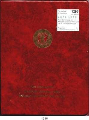 AUSLÄNDISCHE MÜNZEN,L  O  T  S     L  O  T  S     L  O  T  S  FAO-Sammlung von 54 Münzen zwischen 1968 und 1971.  In Originalmappe.