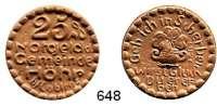 P O R Z E L L A N M Ü N Z E N,Münzen von anderen Deutschen Keramischen Fabriken Höhr 25 Pfennig 1921 gelbbraun.  Menzel 11709.2.