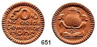 P O R Z E L L A N M Ü N Z E N,Münzen von anderen Deutschen Keramischen Fabriken Höhr 50 Pfennig 1921 gelbbraun.  Menzel 11709.9.
