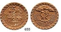 P O R Z E L L A N M Ü N Z E N,Münzen von anderen Deutschen Keramischen Fabriken Höhr 75 Pfennig 1921 gelbbraun.  Menzel 11709.17.