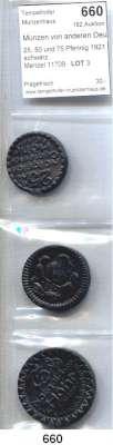 P O R Z E L L A N M Ü N Z E N,Münzen von anderen Deutschen Keramischen Fabriken Höhr 25, 50 und 75 Pfennig 1921 schwarz.   Menzel 11709.  LOT 3 Stück.