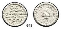 P O R Z E L L A N M Ü N Z E N,Münzen von anderen Deutschen Keramischen Fabriken Höhr 25 Pfennig 1921 weiß.  Menzel 11709.7.