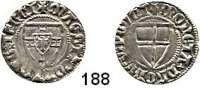 Deutsche Münzen und Medaillen,Deutscher Orden Konrad V. von Jungingen 1393 - 1407 Schilling o.J.  1,60 g.  Neumann 7 a.  Dorn auf dem Balkenkreuz.