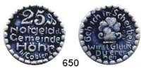 P O R Z E L L A N M Ü N Z E N,Münzen von anderen Deutschen Keramischen Fabriken Höhr 25 Pfennig 1921 grau mit kobaltblauer Glasur.  Menzel 11709.4.