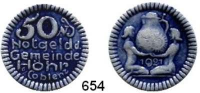 P O R Z E L L A N M Ü N Z E N,Münzen von anderen Deutschen Keramischen Fabriken Höhr 50 Pfennig 1921 grau mit kobaltblauer Glasur.  Menzel 11709.11.