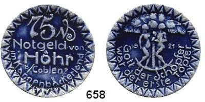 P O R Z E L L A N M Ü N Z E N,Münzen von anderen Deutschen Keramischen Fabriken Höhr 75 Pfennig 1921 grau mit kobaltblauer Glasur.  Menzel 11709.19.