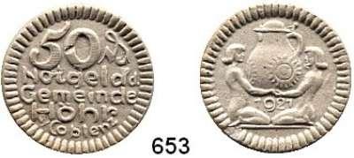 P O R Z E L L A N M Ü N Z E N,Münzen von anderen Deutschen Keramischen Fabriken Höhr 50 Pfennig 1921 grau, nicht glasiert.  Menzel 11709.