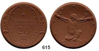P O R Z E L L A N M Ü N Z E N,SPENDENMÜNZEN VON VERBÄNDEN UND VEREINEN Leipzig 20 Mark 1922 braun.  Deutsche Kinderhilfe.  Gipsform.