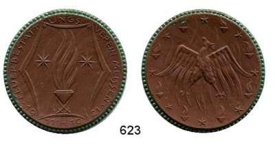 P O R Z E L L A N M Ü N Z E N,SPENDENMÜNZEN VON VERBÄNDEN UND VEREINEN Meissen Ohne Wertangabe o.J.(1921)  braun, Rand grün.  Feuerbestattungsverein.