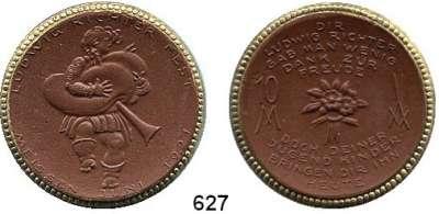 P O R Z E L L A N M Ü N Z E N,SPENDENMÜNZEN VON VERBÄNDEN UND VEREINEN Meissen 10 Mark 1921 braun mit Goldrand.  Ludwig Richterfest.