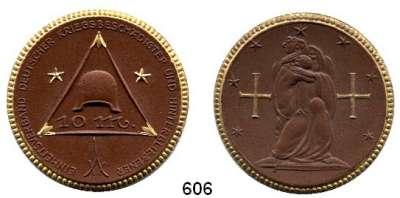P O R Z E L L A N M Ü N Z E N,SPENDENMÜNZEN VON VERBÄNDEN UND VEREINEN Berlin 10 Mark o.J.(1921) braun mit Golddekor.  Einheitsverband.