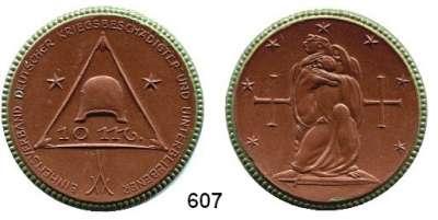 P O R Z E L L A N M Ü N Z E N,SPENDENMÜNZEN VON VERBÄNDEN UND VEREINEN Berlin 10 Mark o.J.(1921) braun, Rand grün.  Einheitsverband.