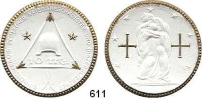 P O R Z E L L A N M Ü N Z E N,SPENDENMÜNZEN VON VERBÄNDEN UND VEREINEN Berlin 10 Mark o.J.(1921) weiß mit Golddekor.  Einheitsverband.