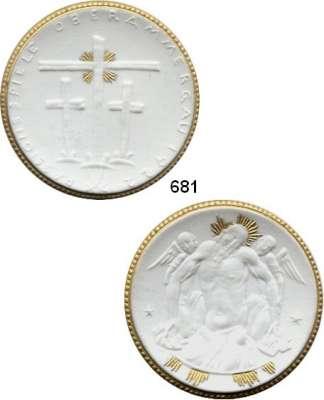 PORZELLAN  SPENDEN - MEDAILLEN,Staatliche Porzellan-Manufaktur MEISSEN Oberammergau 1922 weiß mit Golddekor.  Passionsspiele - Christus.  Gipsform.