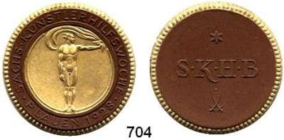 PORZELLAN  SPENDEN - MEDAILLEN,Staatliche Porzellan-Manufaktur MEISSEN Plauen 1928 braun mit Golddekor.  Sächs. Künstlerhilfswoche.