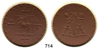 PORZELLAN  SPENDEN - MEDAILLEN,Staatliche Porzellan-Manufaktur MEISSEN Sebnitz o.J.(1922) braun mit Goldrand.  Ehrenmal für die Gefallenen.  Gipsform.