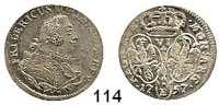 Deutsche Münzen und Medaillen,Preußen, Königreich Friedrich II. der Große 1740 - 1786 6 Gröscher 1757 E, Königsberg.  3,14 g.  Kluge 227.6.   v.S. 1084.  Olding 211a.