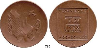 MEDAILLEN AUS PORZELLAN,Staatliche Porzellan-Manufaktur MEISSEN Dresden 1928 braun.  100 Jahre Technische Hochschule.