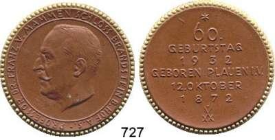 MEDAILLEN AUS PORZELLAN,Staatliche Porzellan-Manufaktur MEISSEN Brandstein 1932 braun mit Goldrand.  60. Geburtstag von Prof. Dr. Franz von Mammen.