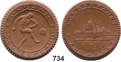 MEDAILLEN AUS PORZELLAN,Staatliche Porzellan-Manufaktur MEISSEN Budapest o.J.(1934) braun.  Fußball Länderspiel Ungarn - Deutschland.