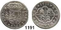 AUSLÄNDISCHE MÜNZEN,Spanien Philipp V. 1700 - 1746 2 Reales 1719 J, Segovia.  5,80 g.  Cayon 8708.