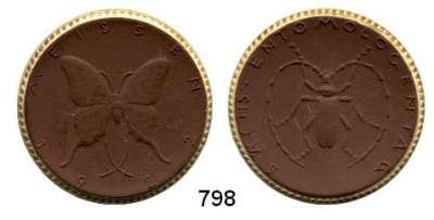 MEDAILLEN AUS PORZELLAN,Staatliche Porzellan-Manufaktur MEISSEN Meissen 1922 braun mit Goldrand.  Sächs. Entomologentag.  Gipsform.