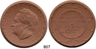MEDAILLEN AUS PORZELLAN,Staatliche Porzellan-Manufaktur MEISSEN Pössneck 1923 braun.  Goethe-Gedenkfeier.  Gipsform.