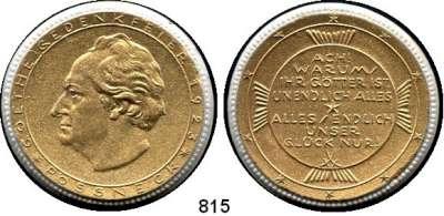 MEDAILLEN AUS PORZELLAN,Staatliche Porzellan-Manufaktur MEISSEN Pössneck 1923 weiß, Spiegel beiderseits gold.  Goethe-Gedenkfeier.