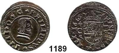 AUSLÄNDISCHE MÜNZEN,Spanien Philipp IV. 1621 - 1665 16 Maravedis 1663 S, Cordoba.  4,69 g.  Cayon 5534.