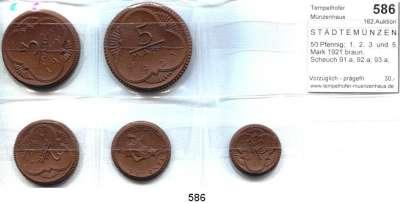 P O R Z E L L A N M Ü N Z E N,S T Ä D T E M Ü N Z E N Altenburg 50 Pfennig;  1,  2,  3  und  5 Mark 1921 braun.  Scheuch 91.a; 92.a; 93.a; 96.a und 97.a.  Menzel 349.  SATZ 5 Stück.