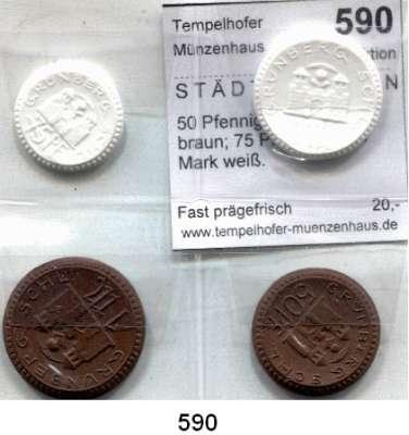 P O R Z E L L A N M Ü N Z E N,S T Ä D T E M Ü N Z E N Grünberg 50 Pfennig und 1 Mark braun; 75 Pfennig und 1 Mark weiß.  Scheuch 137.a, 140.n, 142.a, 144.n.  Menzel 9888.  SATZ 4 Stück.