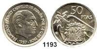 AUSLÄNDISCHE MÜNZEN,Spanien Republik unter Franco 1936 - 1975 50 Peseten 1957(68).  Auflage 1000 Exemplare. (nur in Jahressätzen ausgegeben).  Schön 36.  KM 788.