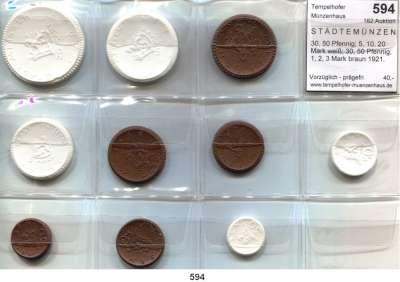 P O R Z E L L A N M Ü N Z E N,S T Ä D T E M Ü N Z E N Meissen 30, 50 Pfennig; 5, 10, 20 Mark weiß; 30, 50 Pfennig; 1, 2, 3 Mark braun 1921.  Scheuch 168.a/n, 171.a/n, 174.a, 177.a, 179.a, 182.n, 185.n und 188.n.  LOT 10 Stück.