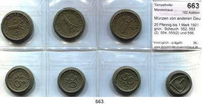 P O R Z E L L A N M Ü N Z E N,Münzen von anderen Deutschen Keramischen Fabriken Waldenburg 20 Pfennig bis 1 Mark 1921 grün.  Scheuch  552, 553(2), 554, 555(2) und 556.   Menzel 25902.  LOT 7 Stück