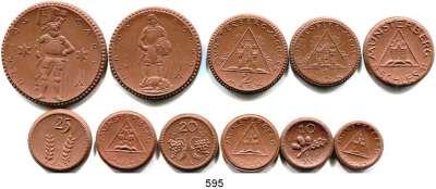 P O R Z E L L A N M Ü N Z E N,S T Ä D T E M Ü N Z E N Münsterberg 10 Pfennig bis 10 Mark 1921/1922 braun.  Scheuch 193.a(2); 197.a(2); 200.a(2);  205.a; 208.a; 211.a; 214.a und 217.a.  LOT 11 Stück.