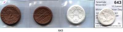 P O R Z E L L A N M Ü N Z E N,Münzen von anderen Deutschen Keramischen Fabriken Bitterfeld 1(2) und 2(2) Mark 1921 braun und weiß.  Menzel 2923.1-4.  SATZ 4 Stück.